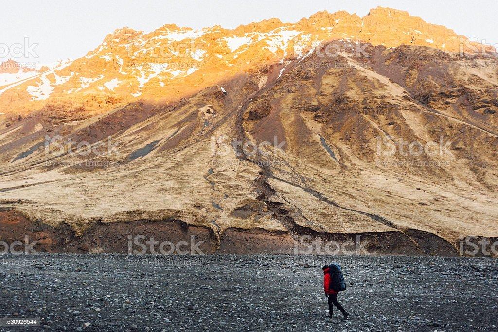 Man in mountains stock photo