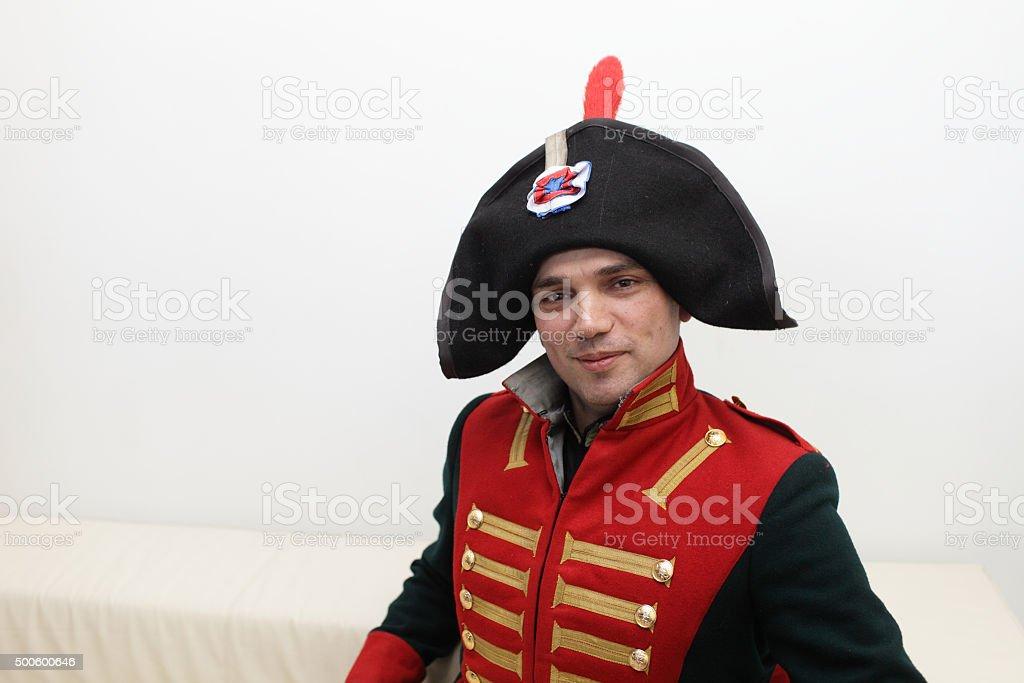 Man in Napoleonic uniform stock photo