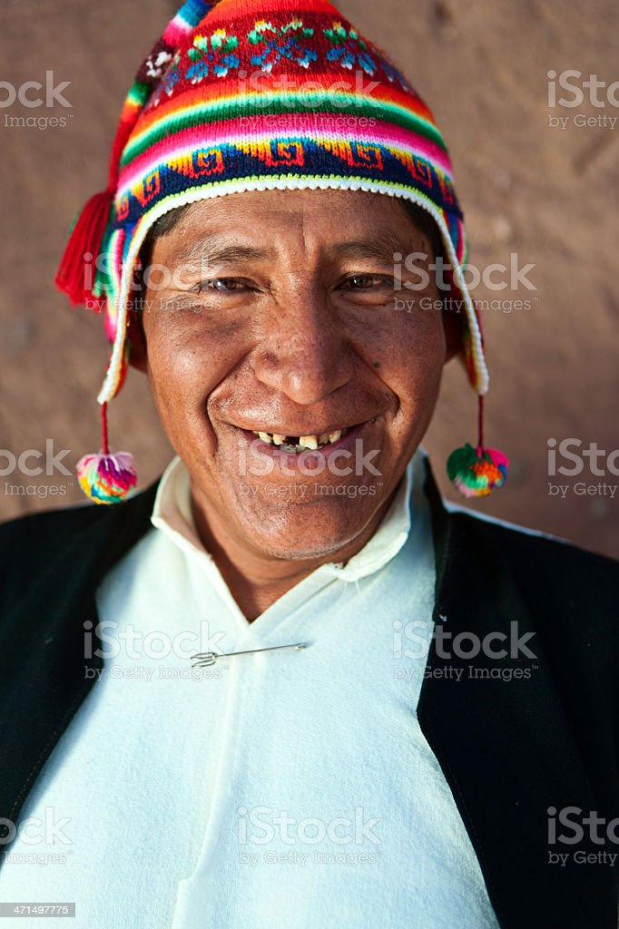 Man in national costume on Taquile Island, Peru stock photo