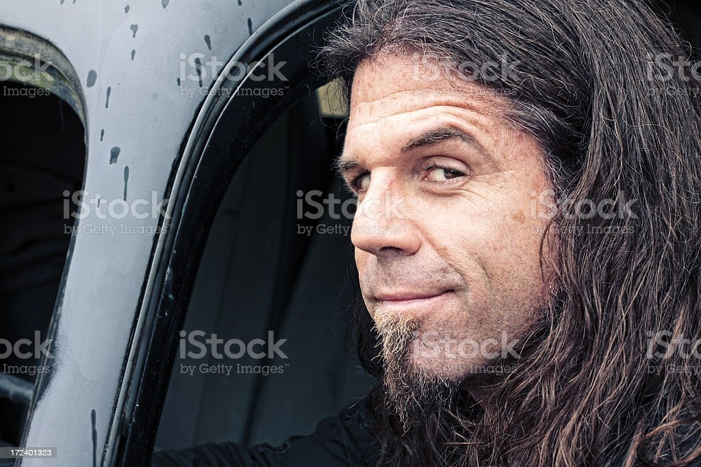 Man in Old Truck royalty-free stock photo