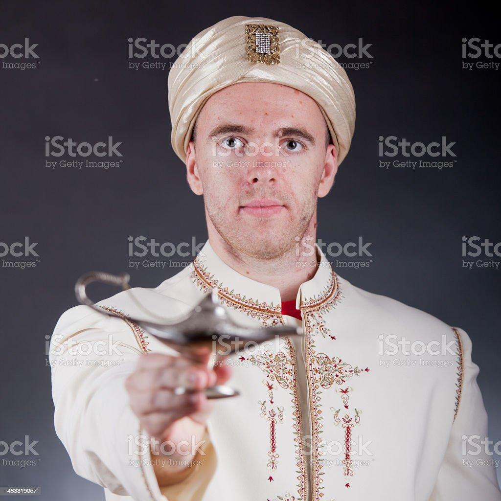 man in oriental costume stock photo