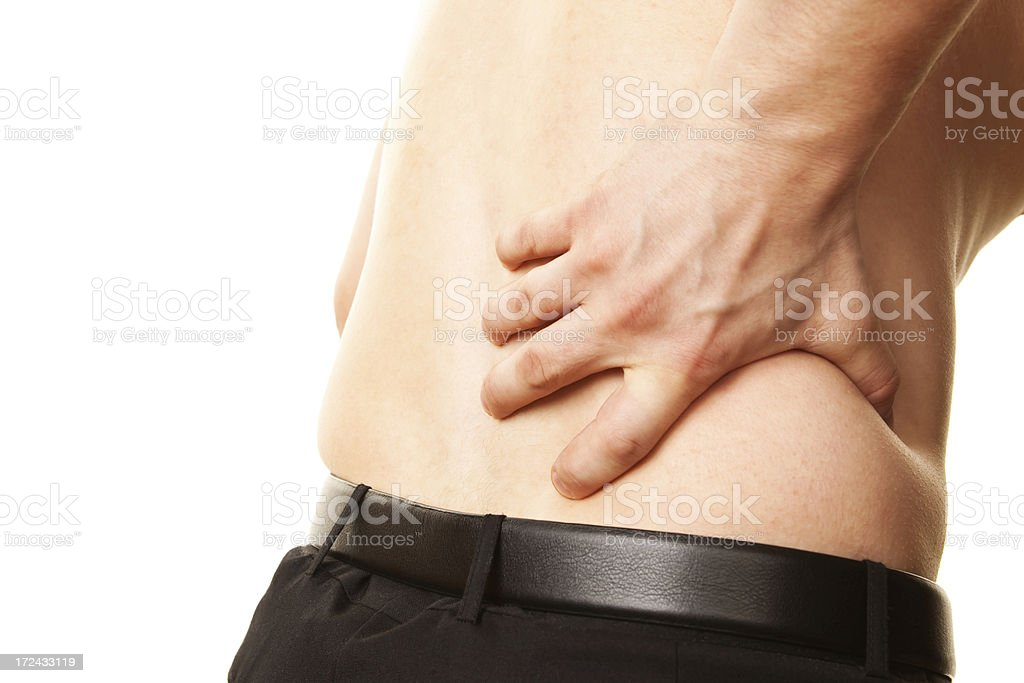 Man, in Pain, Gripping Lower Back royalty-free stock photo