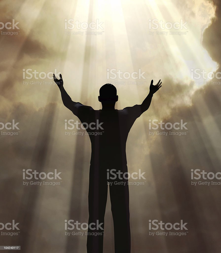 man in praise stock photo