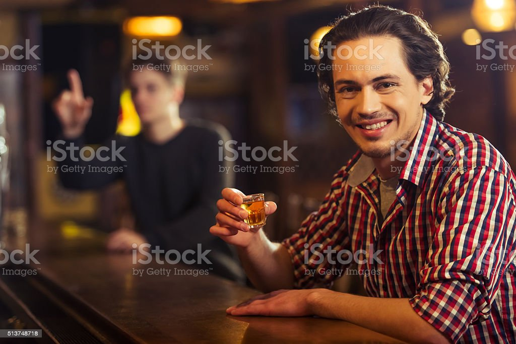 Man in pub stock photo
