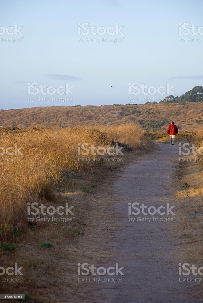 Man in red on trail stock photo