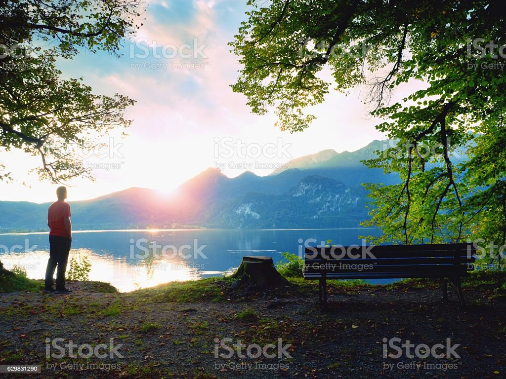 Man in red t-shirt at lake. Empty bench, tree stump stock photo