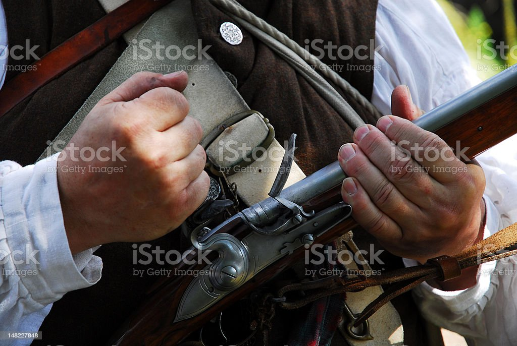 Man in Revolutionary War attire with rifle stock photo