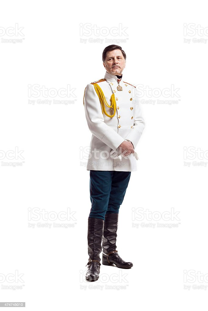 Man in russian officer coat stock photo