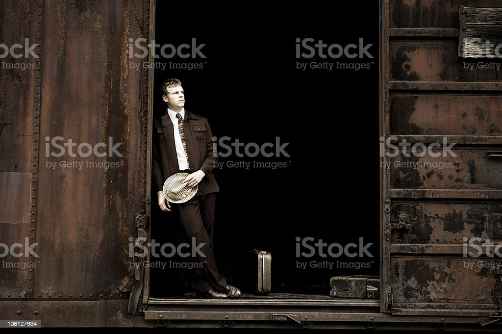 Man in Rusty Train Car royalty-free stock photo