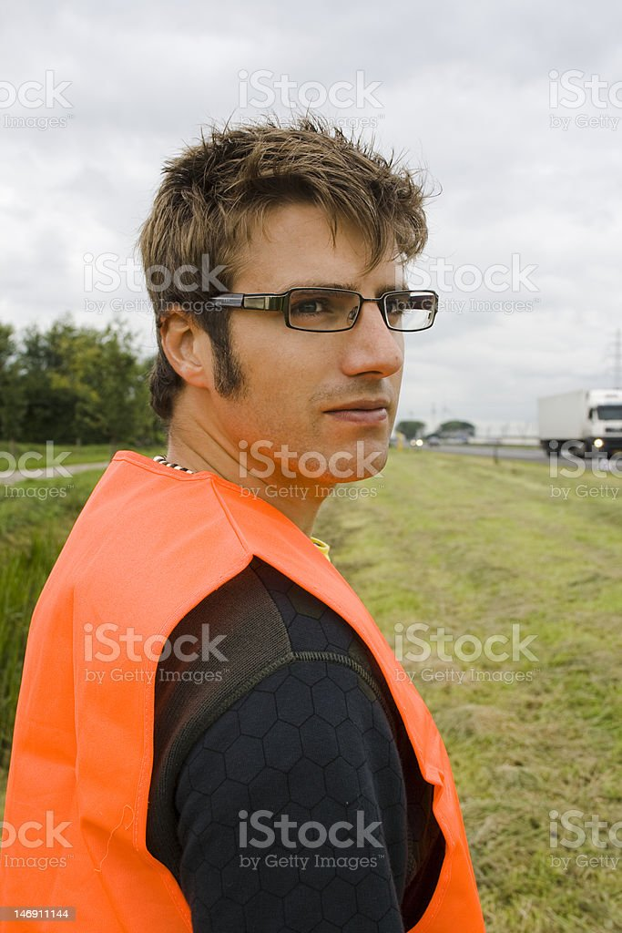 Man in safety jacket royalty-free stock photo