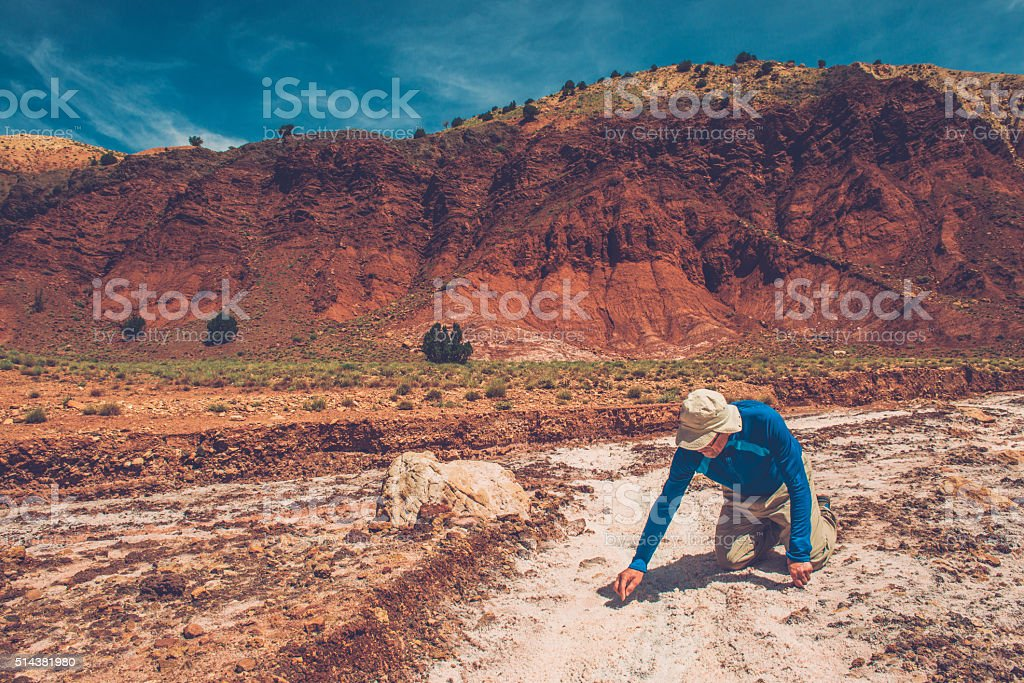 Man in Salt Mine near Telouet in High Atlas, Morocco stock photo