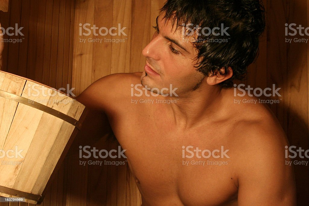 Man in Sauna royalty-free stock photo