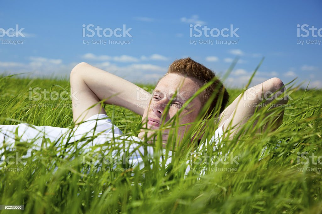 man in spring grass royalty-free stock photo