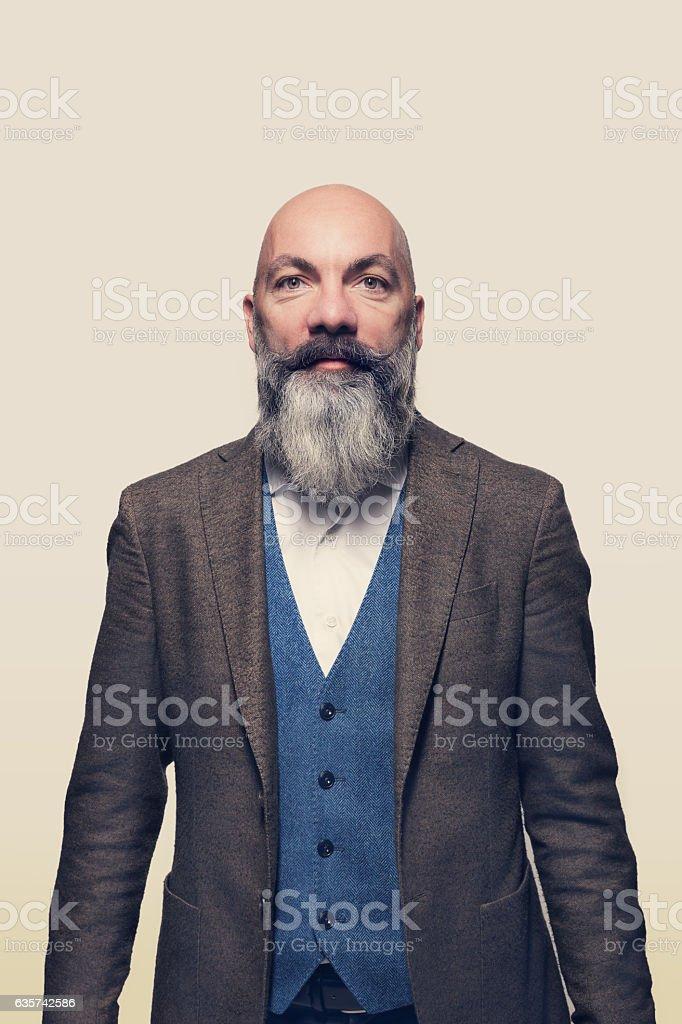 Man in studio, portrait stock photo