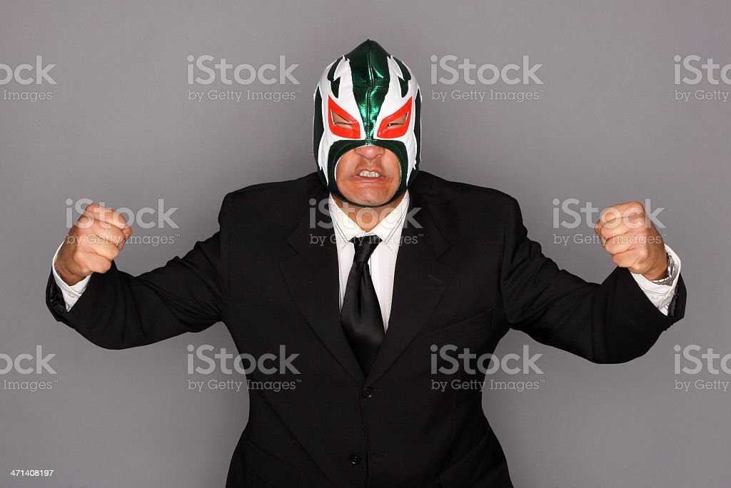 Man in suit and mask stock photo