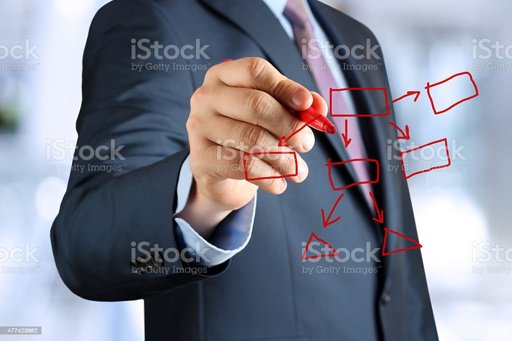 man in suit makes a block diagram on a blackboard stock photo