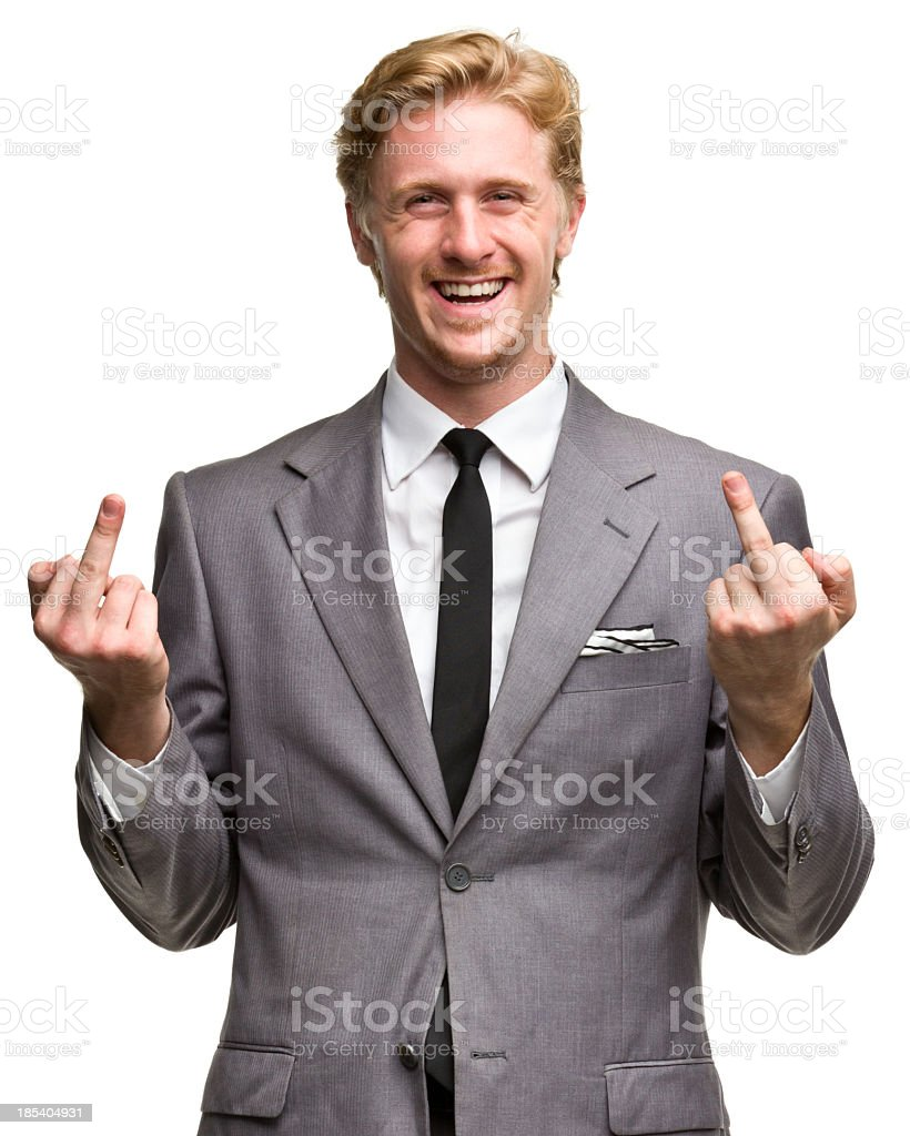 Man in Suit Shows Middle Fingers stock photo