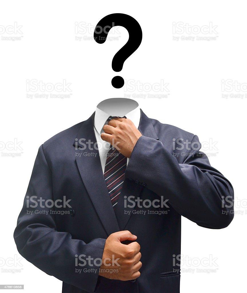 man in suit with a Question for a Head stock photo