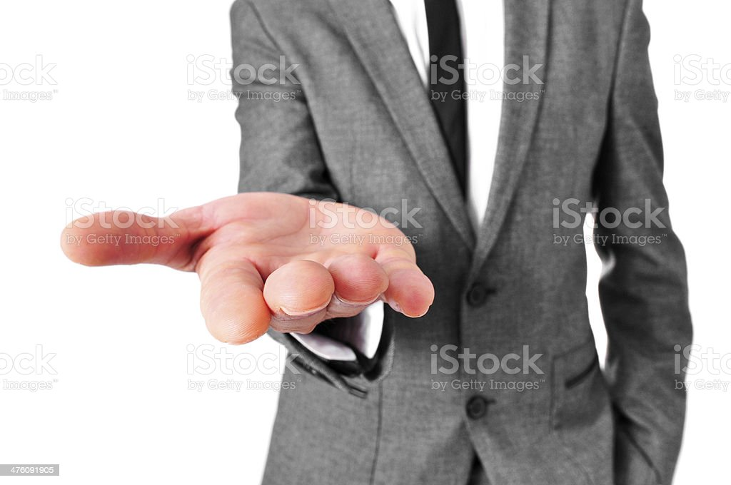 man in suit with his hand open stock photo