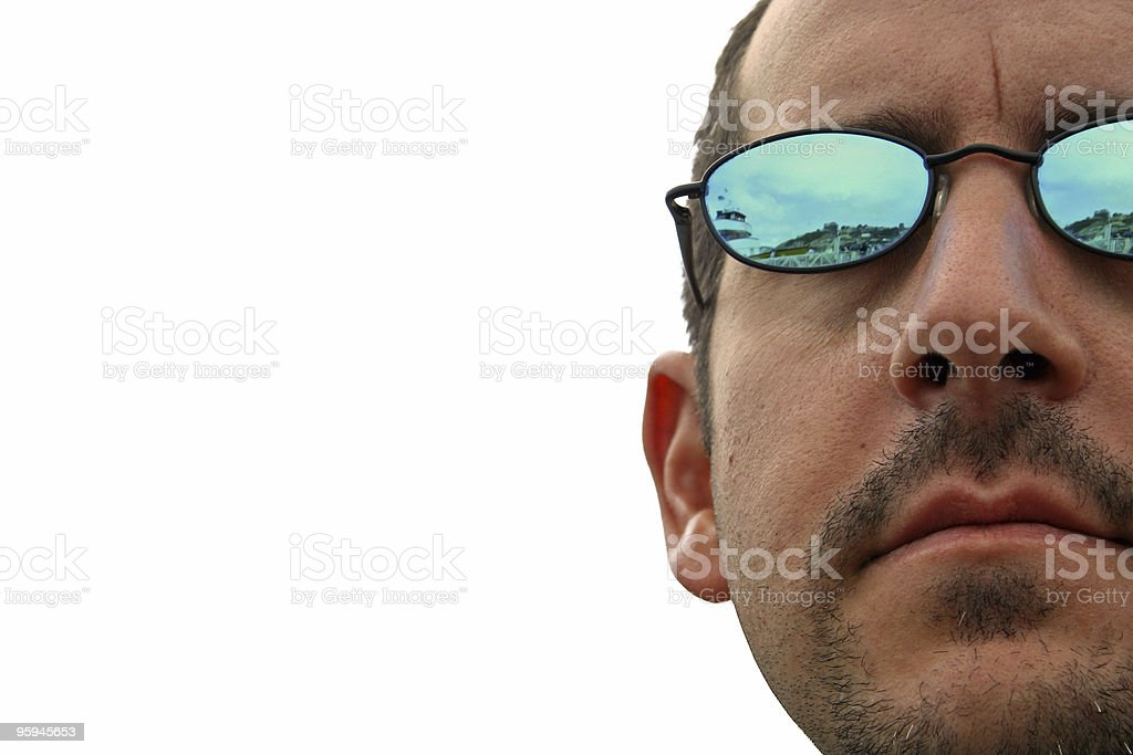 Man in Sunglasses Against White Background royalty-free stock photo