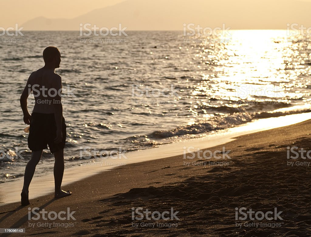 man in sunset royalty-free stock photo