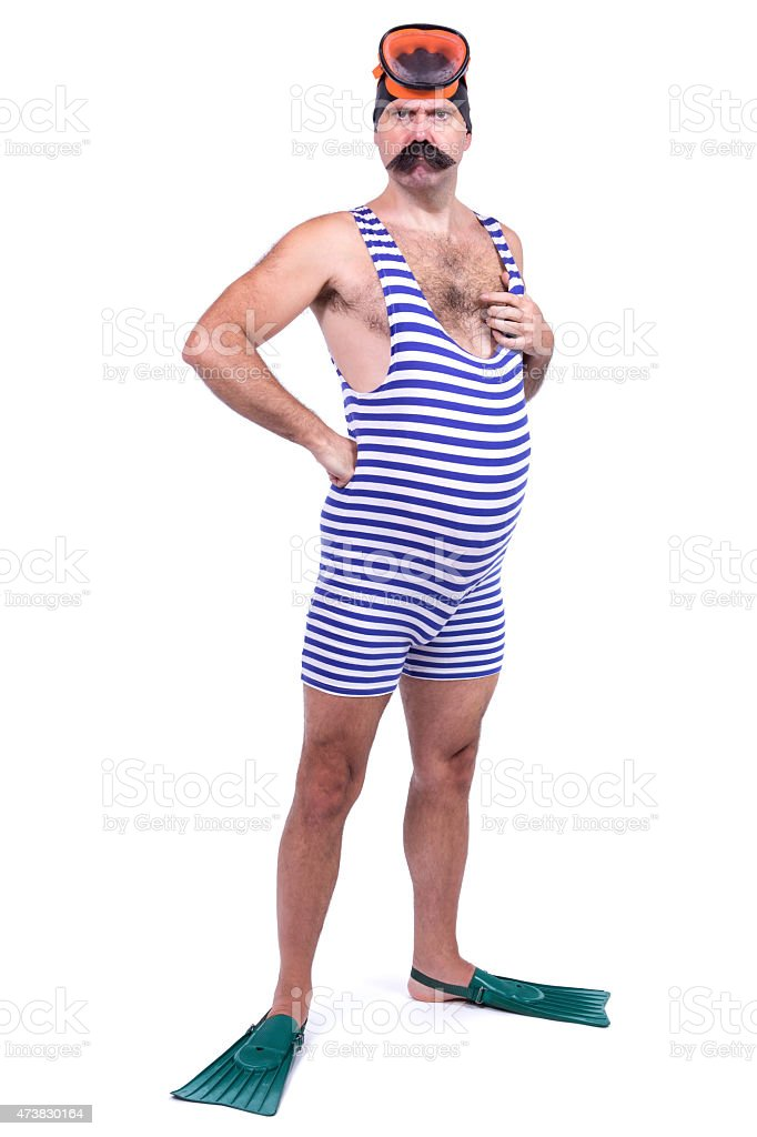 Man in swim dress stock photo
