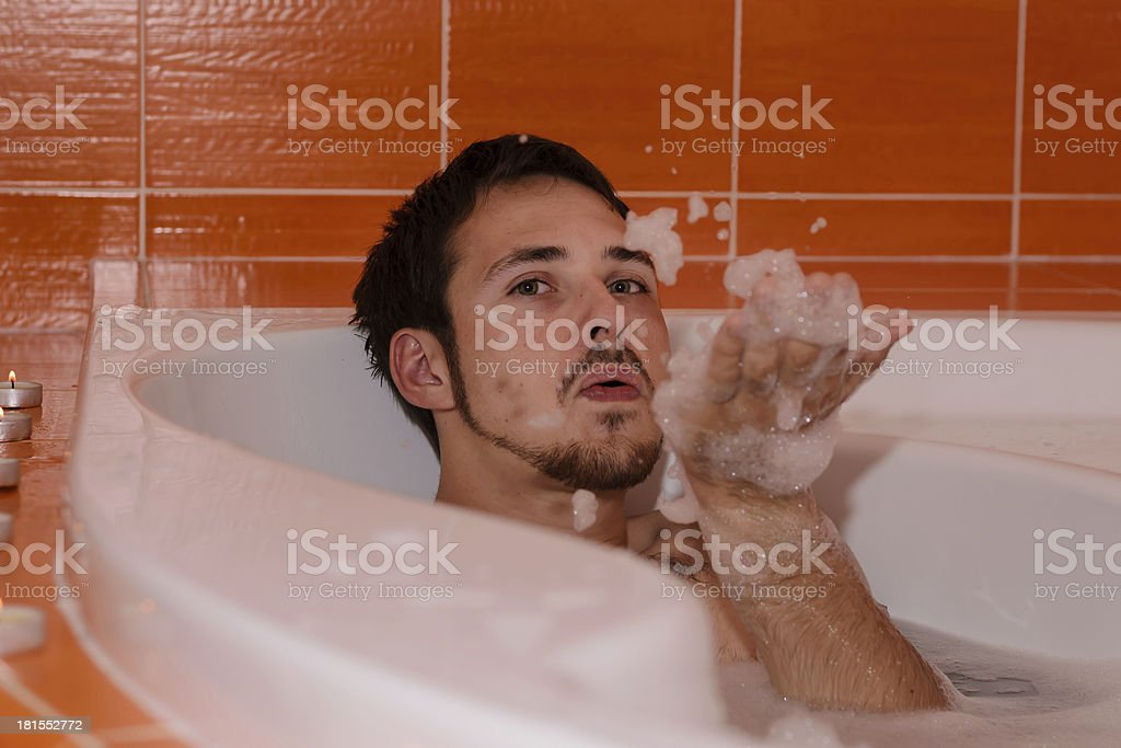 Man in the bath royalty-free stock photo