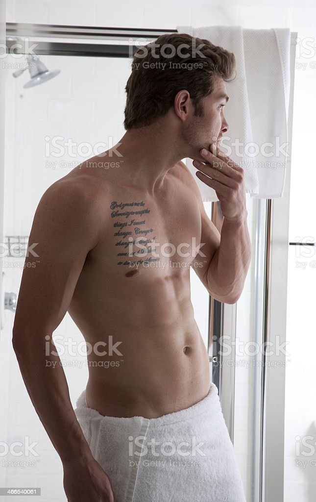 Man in the Bathroom royalty-free stock photo