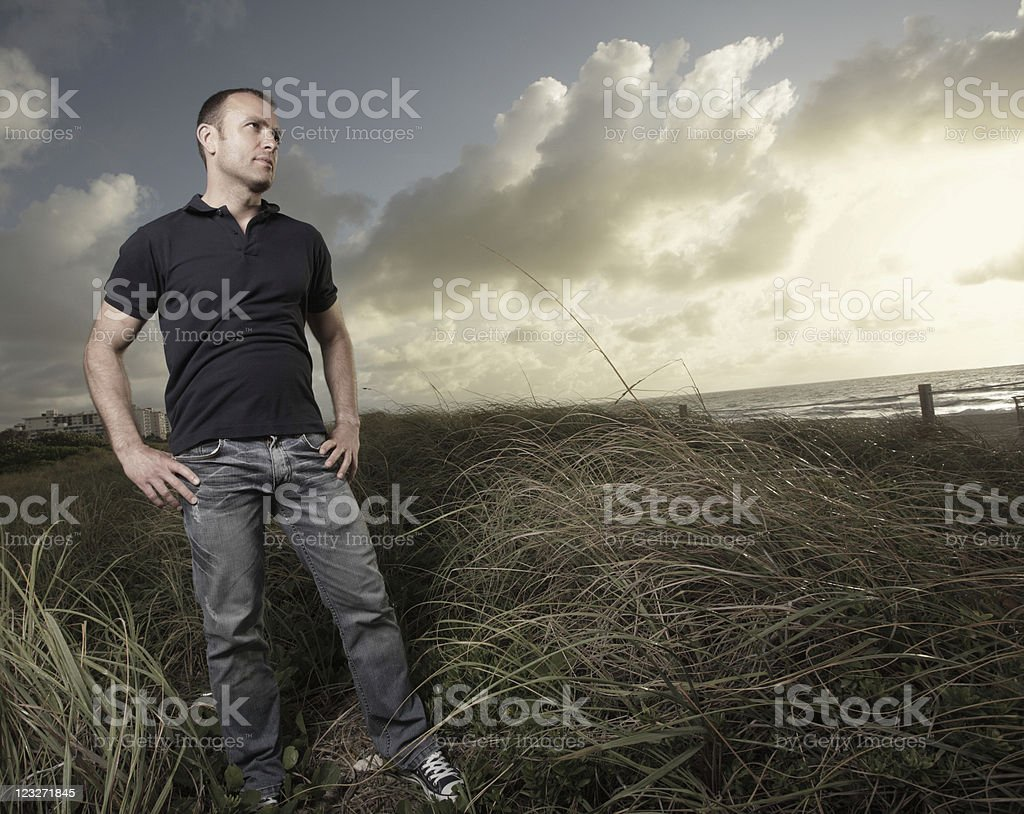 Man in the beach dunes royalty-free stock photo