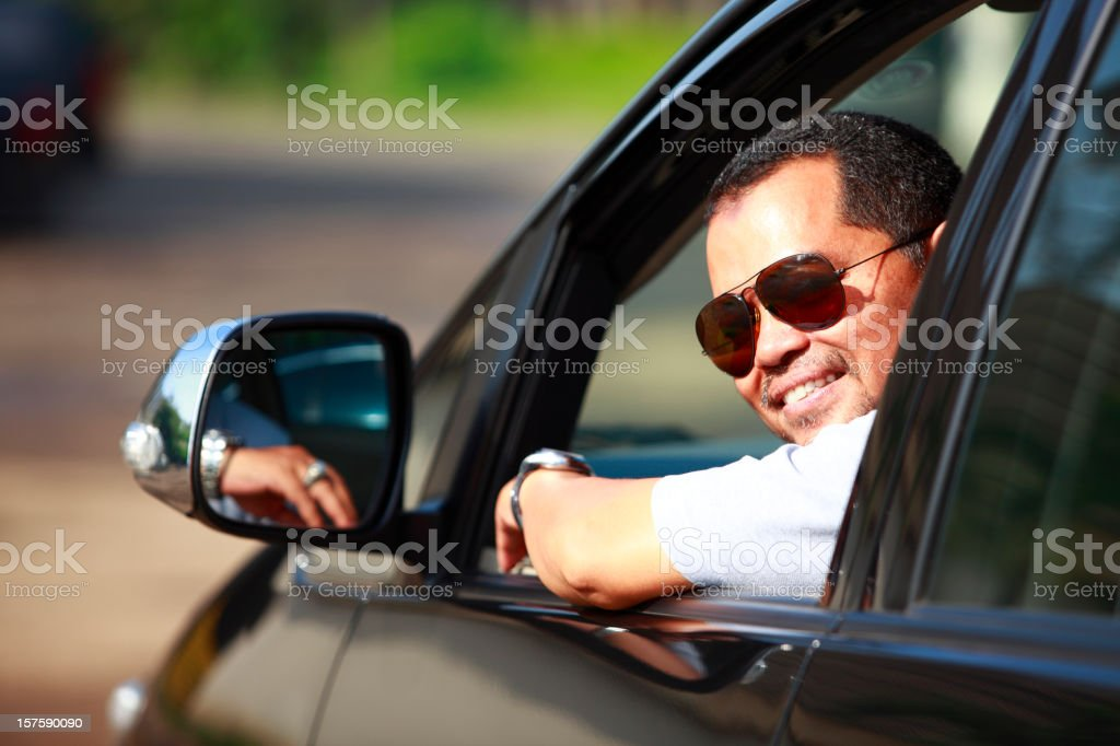 man in the car royalty-free stock photo