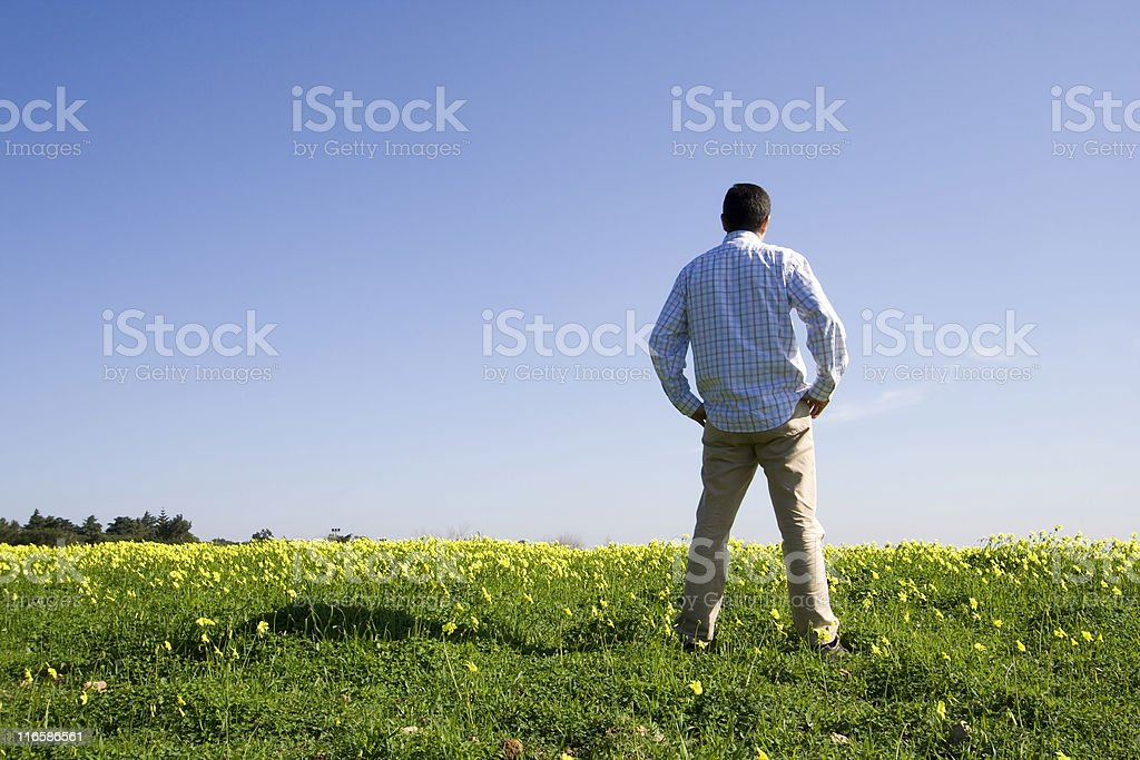 Man in the field royalty-free stock photo