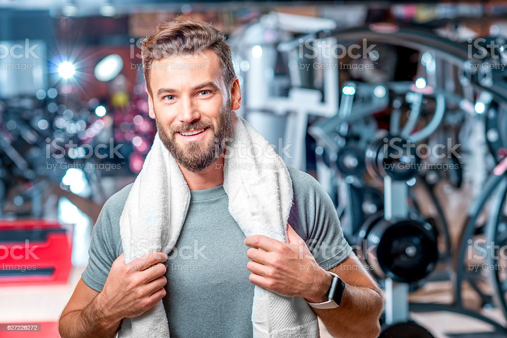 Man in the gym stock photo