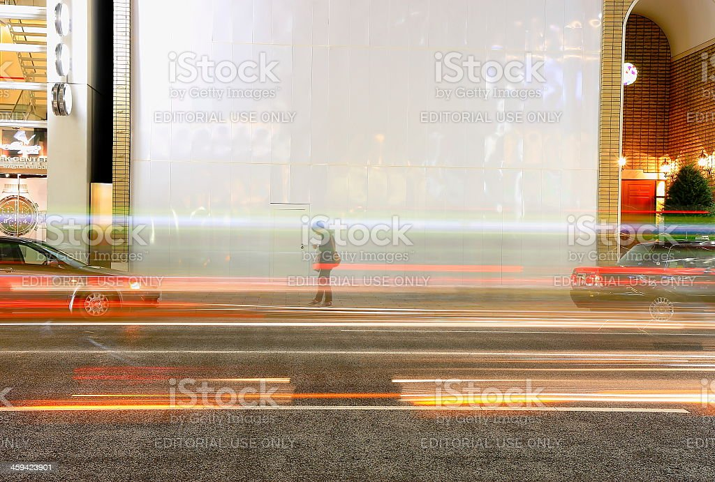 Man in the middle of street-Tokyo stock photo