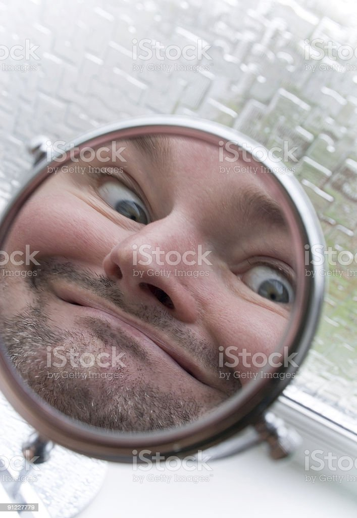 Man in the mirror royalty-free stock photo
