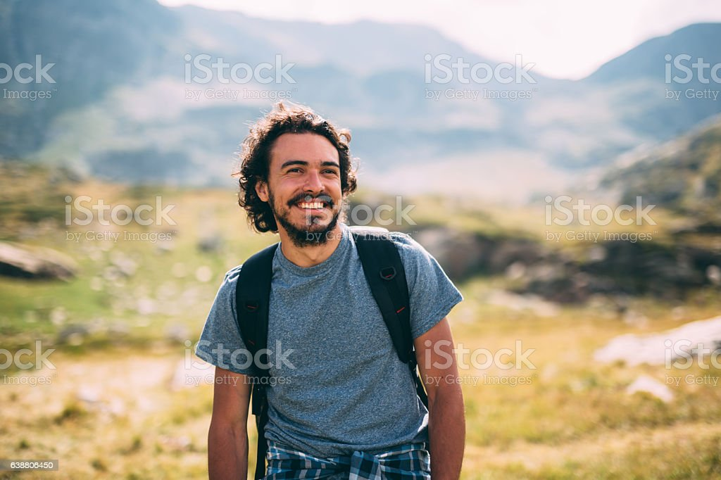 Man in the mountain stock photo