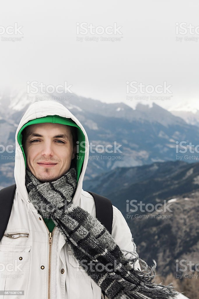Man in the mountains stock photo