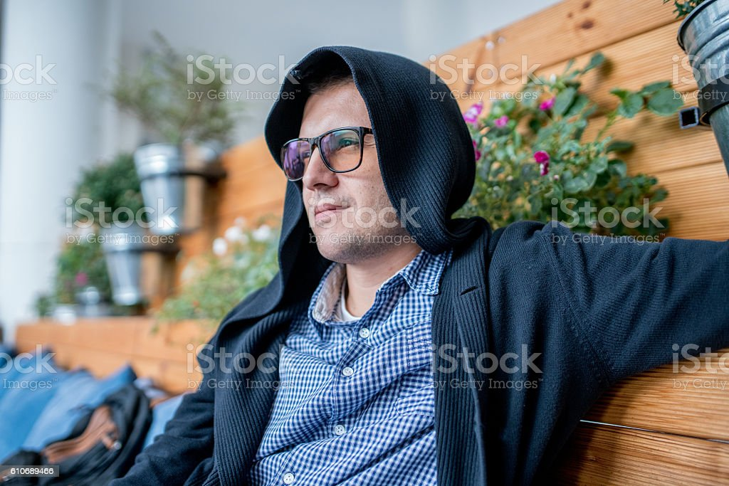 Man in the restaurant stock photo