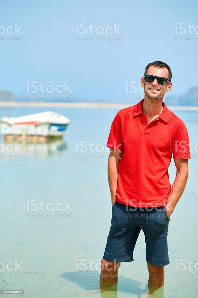 man in the sea stock photo