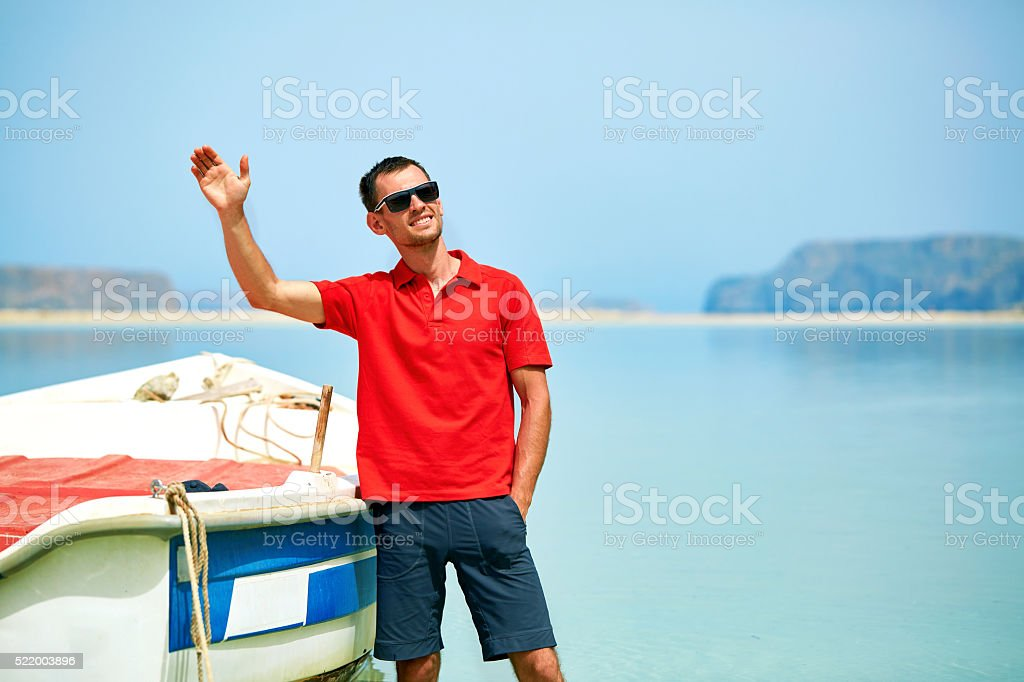 man in the sea stock photo