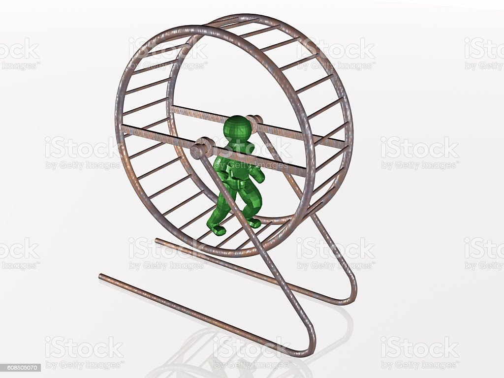 Man in the squirrel cage stock photo