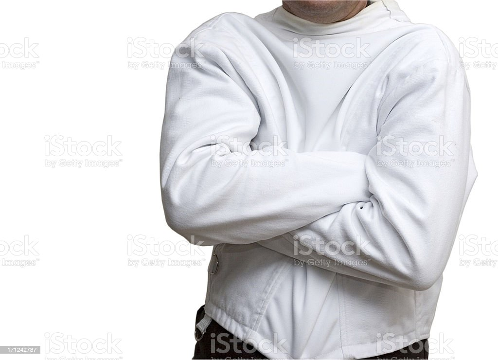 Man in the straitjacket (isolated, clipping path, XXL) stock photo