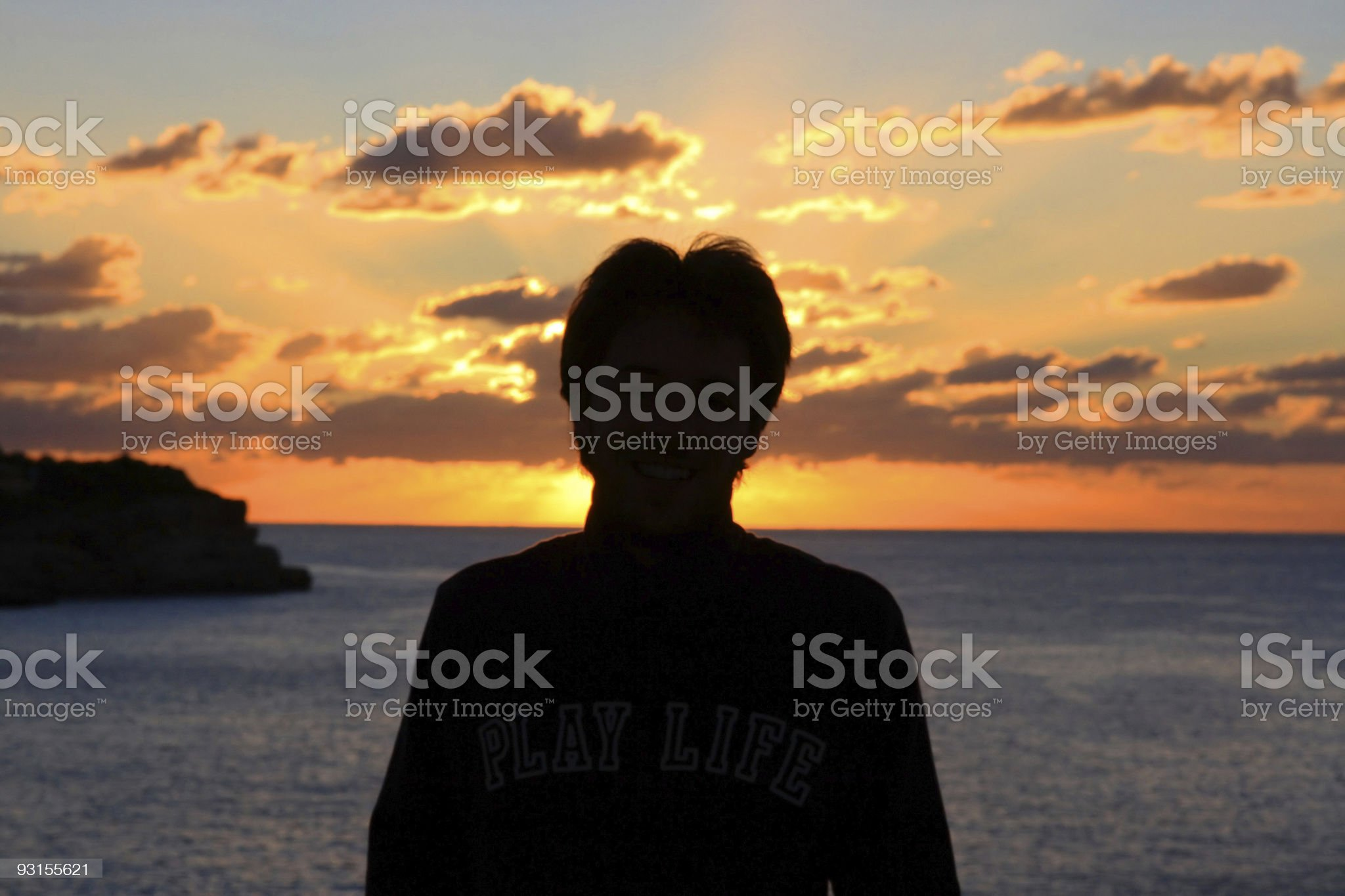 Man in the sunrise royalty-free stock photo