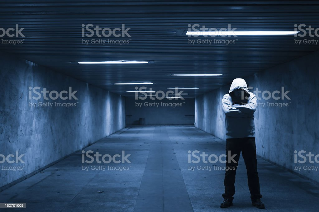 Man in the tunnel stock photo
