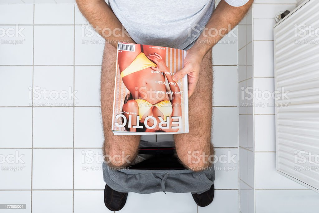 Man In Toilet Holding Sexy Magazine stock photo