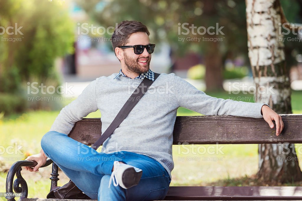 Man in town stock photo