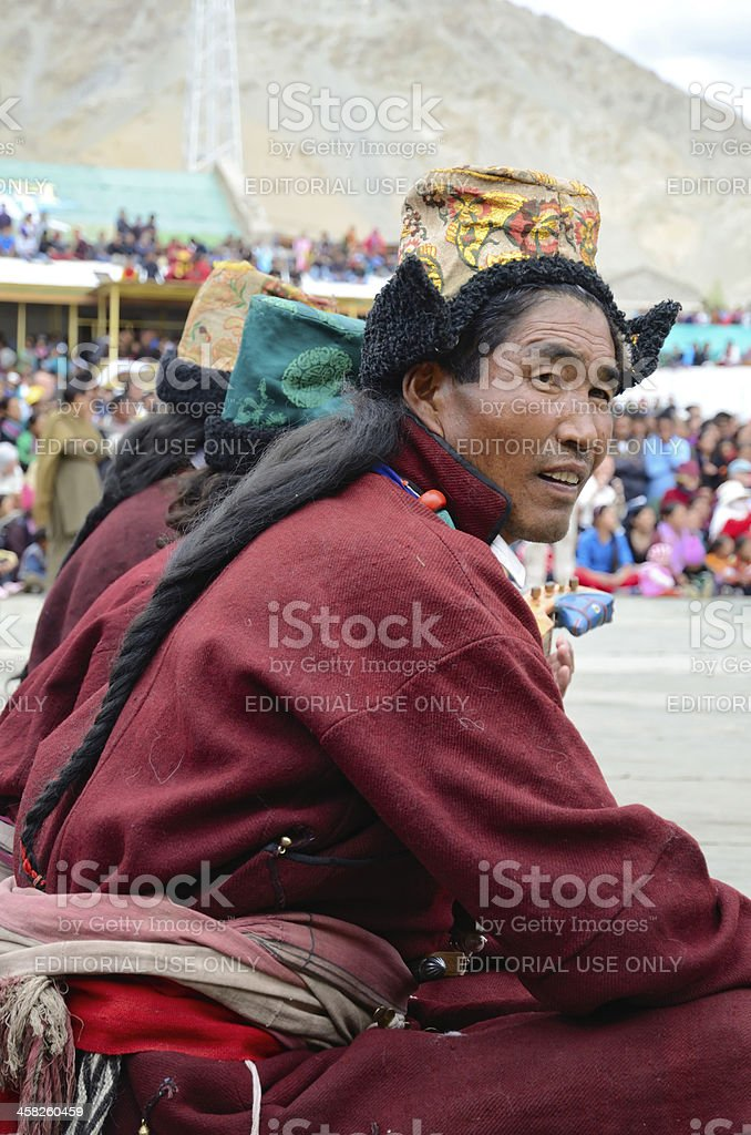 Man in traditional tibetan costumes. royalty-free stock photo