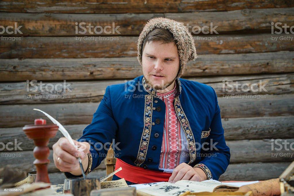 man in traditional ukrainian dress stock photo