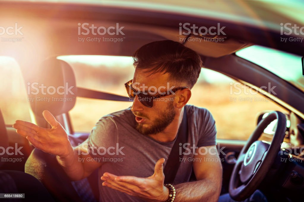 Man in Traffic Jam stock photo