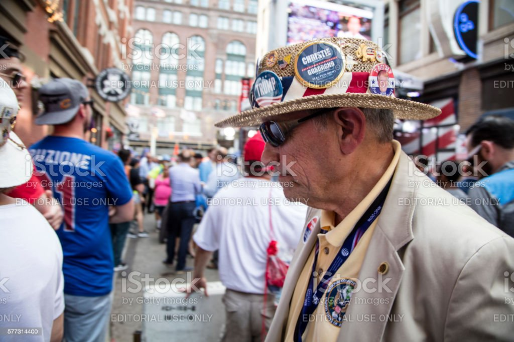 Man in Trump Hat at 2016 RNC stock photo