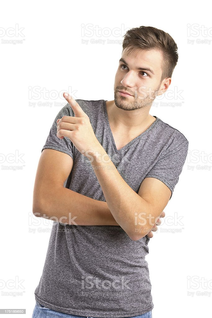 man in tshirt pointing royalty-free stock photo